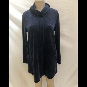 Pure Jill long sleeve cowl neck blue velour top M